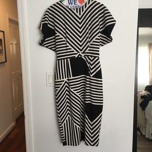 Geometric Stripe Dress with peekaboo Back